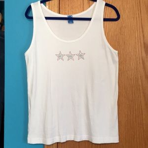 Red blue silver studs star tank top